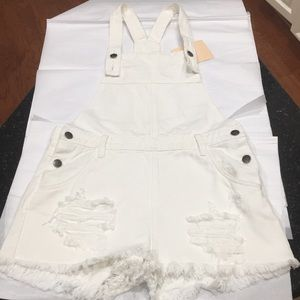 Minkpink distressed overall shorts